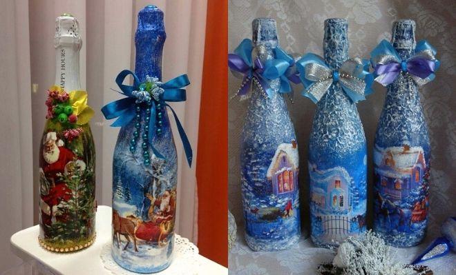 Бутылка шампанского украшенная на новый год своими руками